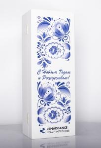 Подарочный набор с новогодним оформлением. Полноцветная печать на деревянном футляре. | Prowine